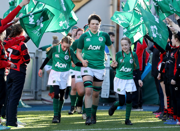Ciara Griffin leads her side onto the pitch